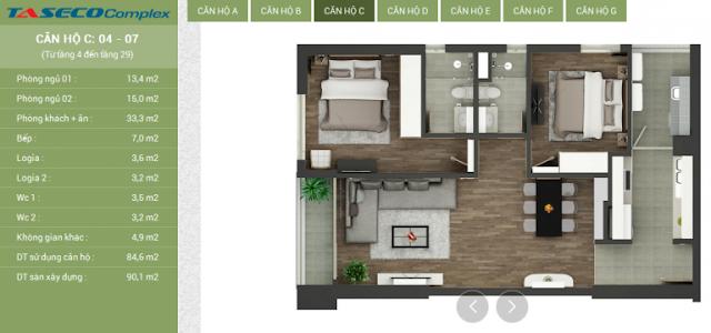 Thiết kế căn hộ C Taseco Complex