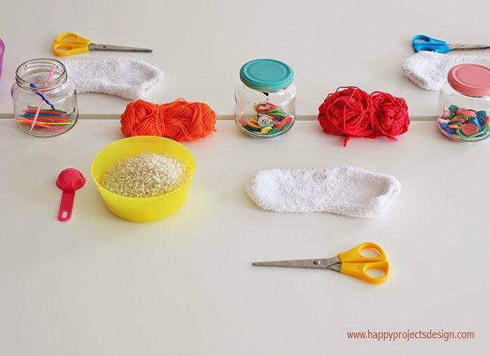 muñeco de nieve con calcetín: materiales