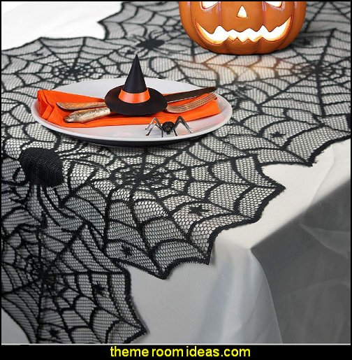 Halloween Black Sipder Web Lace Table Runner, Table Decoration for Scary Movie Nights Parties Themed Bars