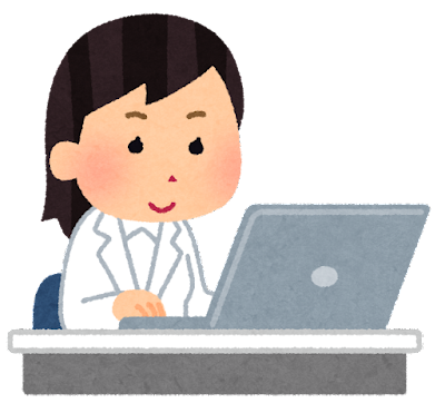 パソコンを使う作業員のイラスト(白衣の女性)