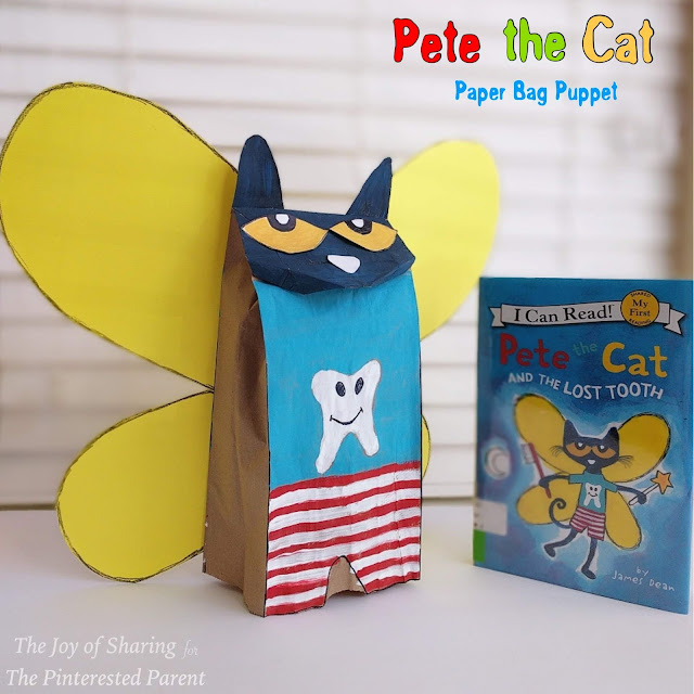 Arts & crafts for kids, kids crafts, paper craft, art projects, easy & fun crafts, toddler, preschool, kindergarten crafts school crafts, book inspired, book based crafts, kids book craft, pete the cat, pete the cat and the lost tooth, paper bag craft, paper bag puppet, puppet craft, playful craft, pretend play ideas,