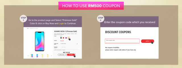RM 500 off for Huawei Nove 3 Primrose Gold with Digi