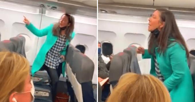 Őrjöngve kiabált a vírustagadó nő a repülőn, lázadásra buzdította az utasokat - Videó!
