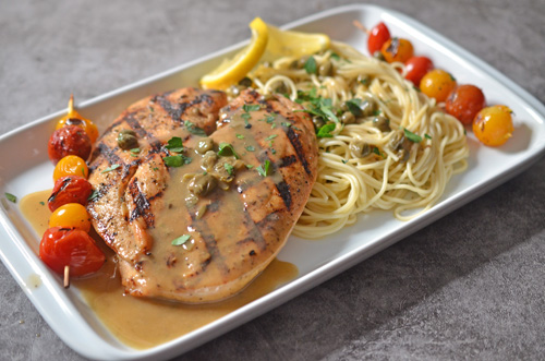 How to grill chicken piccata on a Big Green Egg kamado grill.