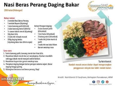 menu berbuka puasa dan sahur simple nasi daging