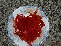 Pimiento rojo cortado en juliana