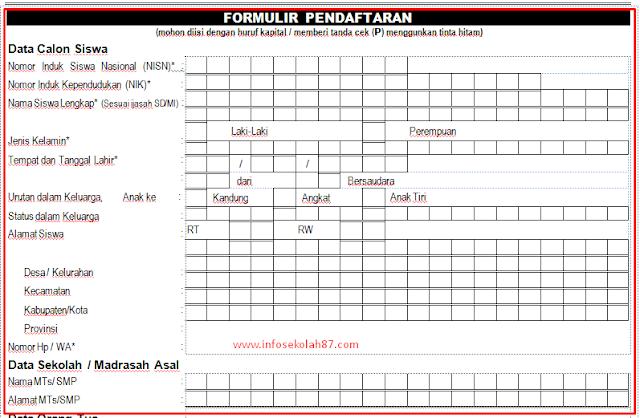Contoh Formulir Pendaftaran Siswa baru PPDB 2019/2020