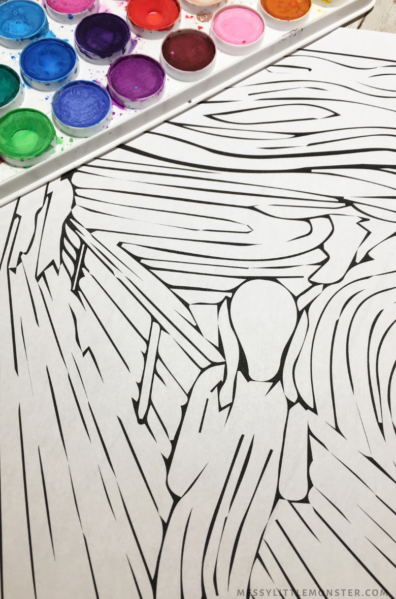 The Scream painting for kids with printable