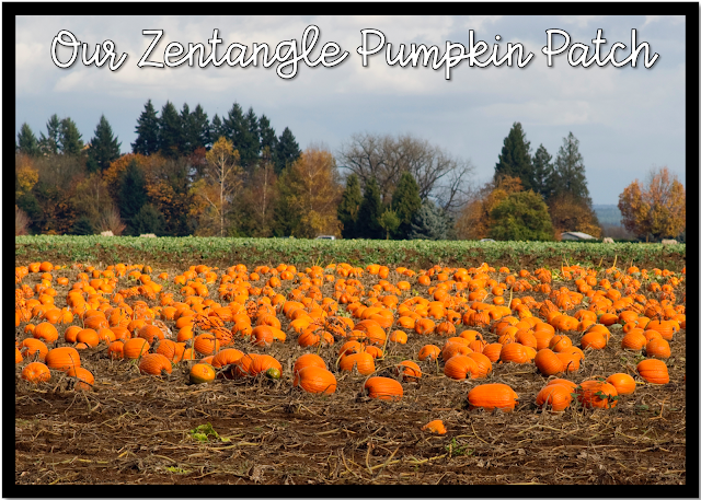 Picture of a pumpkin patch to add your own students into holding their Zentangle pumpkin art project.