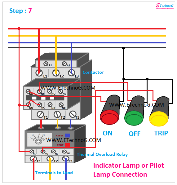 Indication Lamp Wiring Connection, Pilot Lamp connection