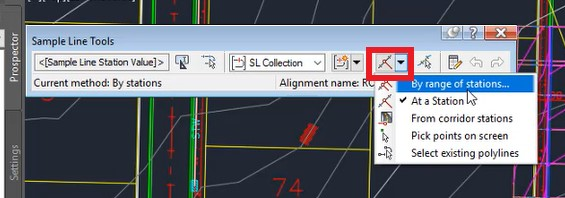 Sample line tools in Autodesk Civil 3D