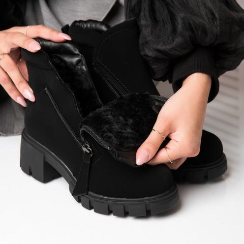 ghete imblanite de iarna din piele intoarsa eco negre la moda