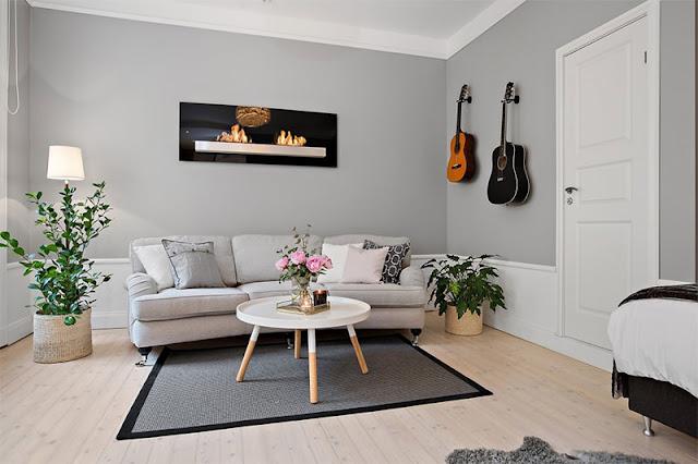 decoração parede cinza