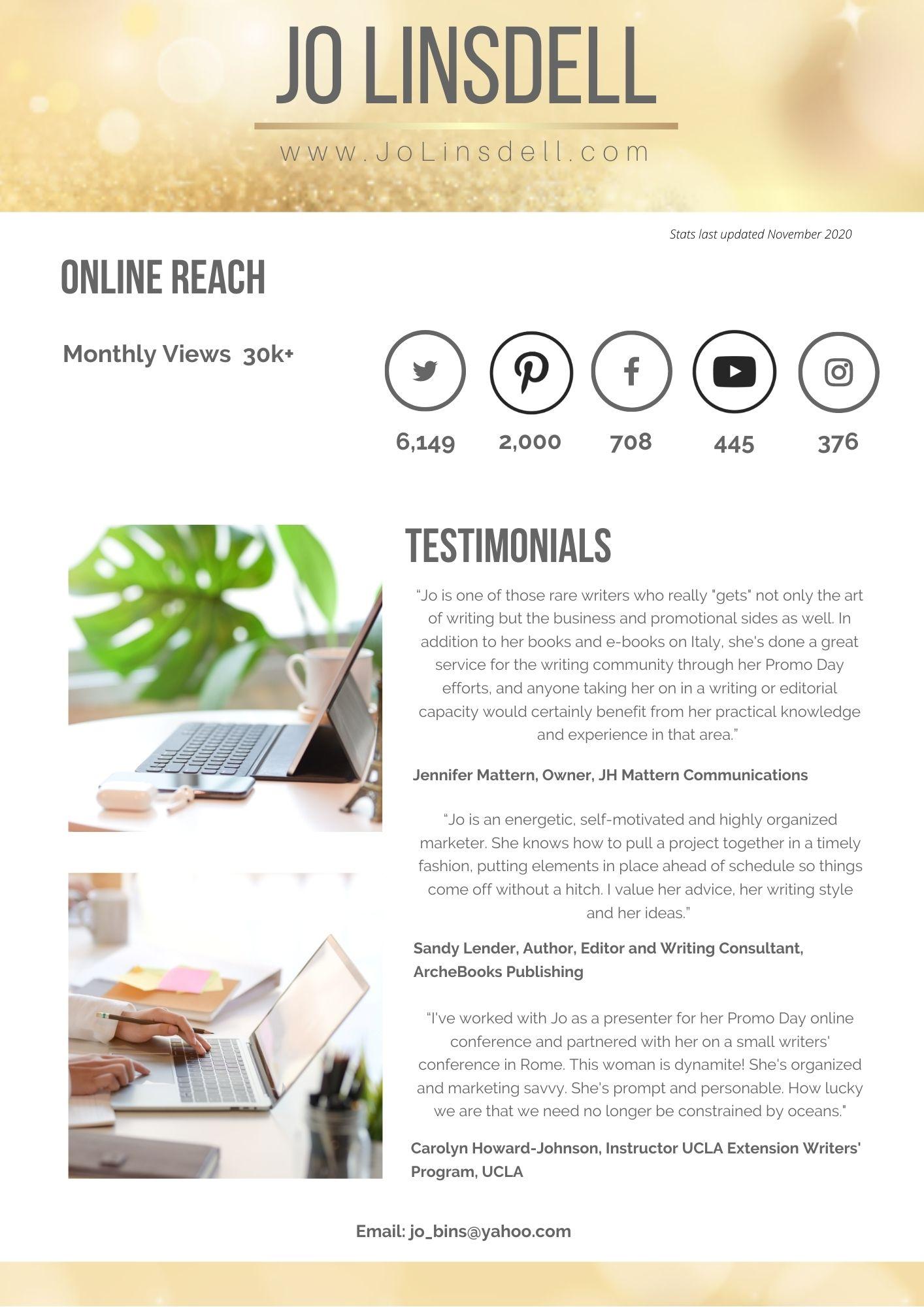 Jo Linsdell Media Kit (last updated November 2020)