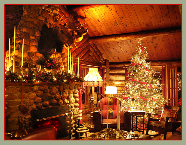 at night i enjoy sitting by a crackling fire with a glass of wine - The Christmas Lodge