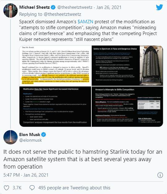 إيلون يتهم أمازون بعرقلة نمو مشروع ستارلنك