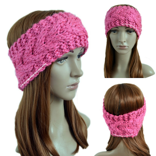 Super Bulky Stacked Cables Ear Warmer Free Knitting Pattern