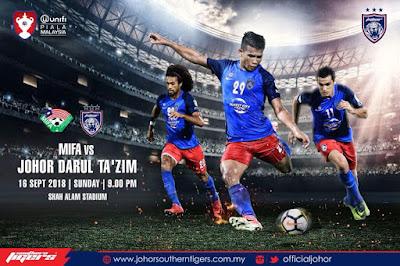 Live Streaming Mifa vs JDT Piala Malaysia 16.9.2018