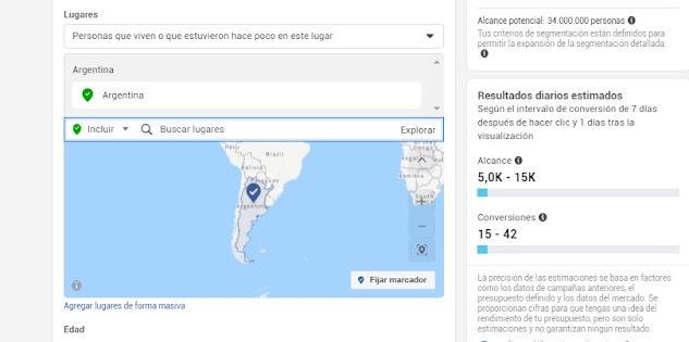 Estimaciones de alcance y conversiones con presupuesto en Facebook Argentina