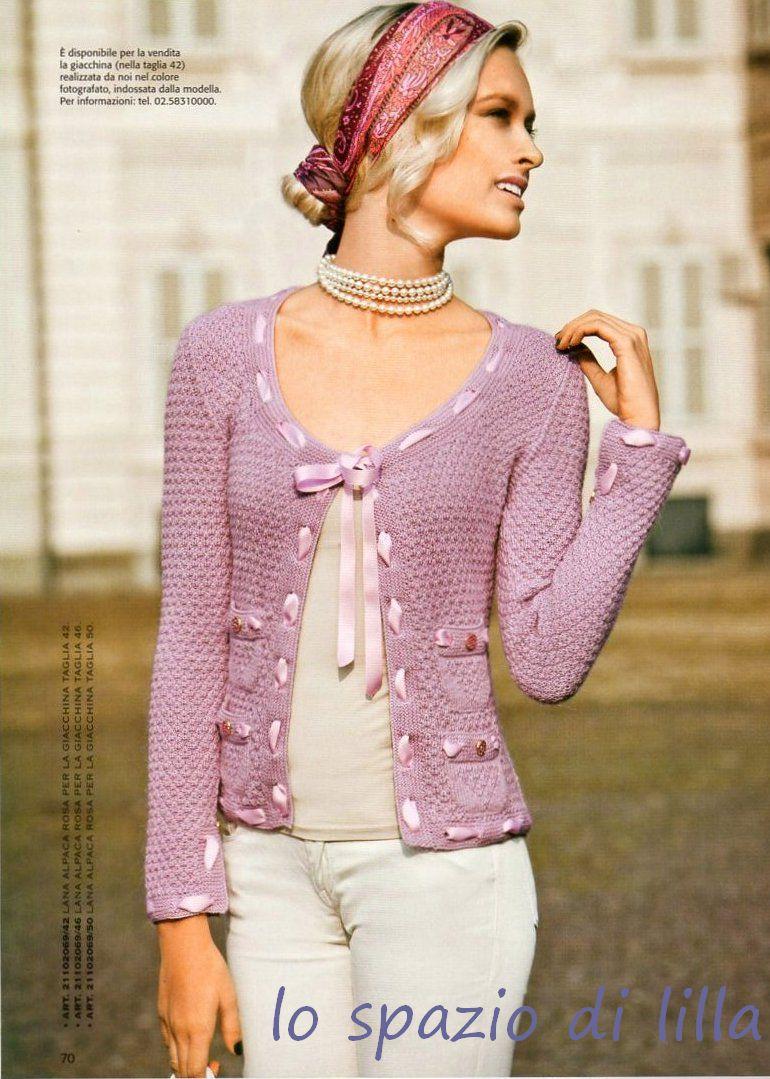 lo spazio di lilla: maglie, giacchine e twin set ai ferri per la
