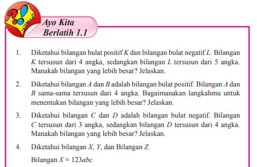 Jawaban Ayo Kita Berlatih 1.1 Halaman 10 MTK Kelas 7 (Bilangan)