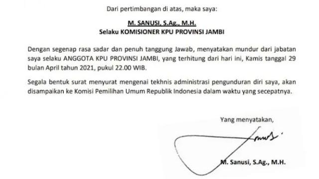 Panas Dituding Tidak Netral, Komisioner KPU Jambi Mundur