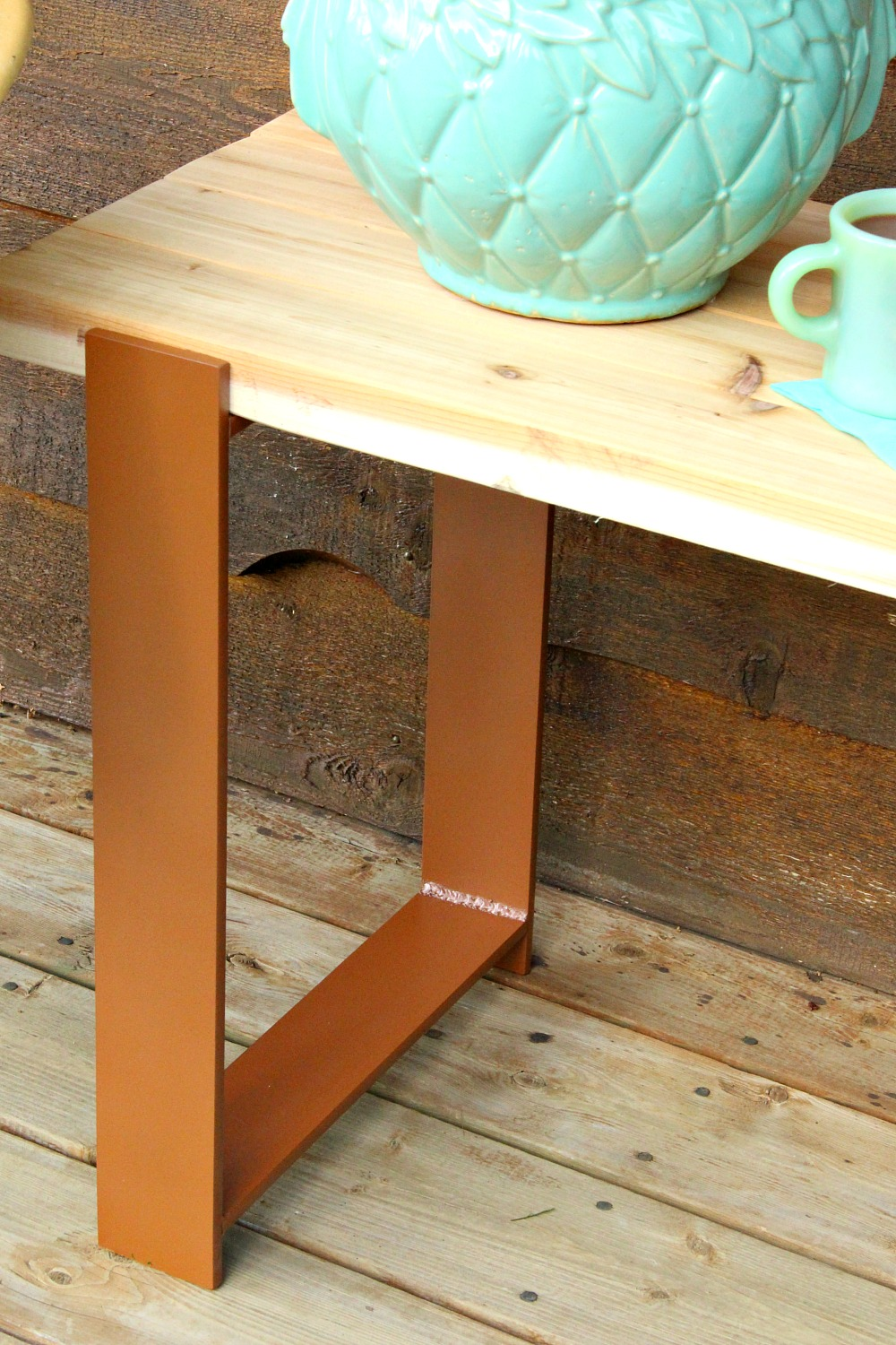 Easy DIY Wood Outdoor Bench with Welded Legs