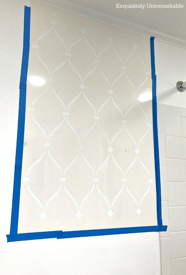 Ribbon Stencil Wall Stencil on bathroom wall