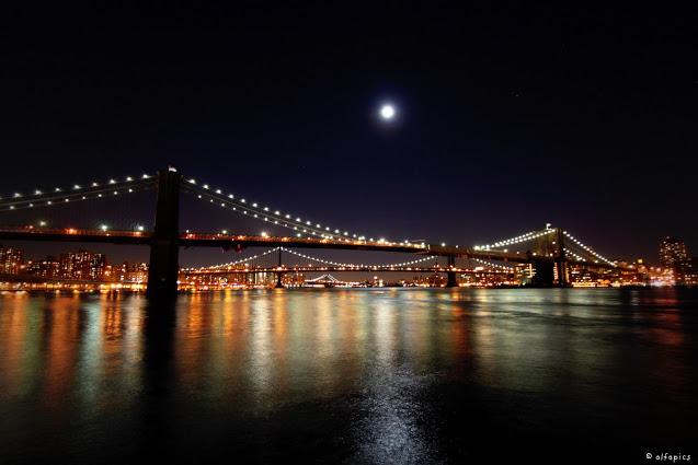 Ponte di Brooklyn visto dal Pier 17-New York