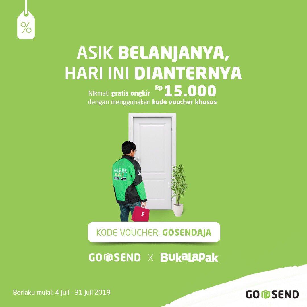 GoJek - Promo Gratis Ongkir GO SEND s.d 15 Ribu di Bukalapak (s.d 31 Juli 2018)