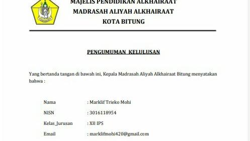 Lulus 100% Peserta didik Kelas 12 MA Alkhairaat Bitung  diterima  IAIN Manado 40 Orang Lewat Jalur SPAN-PTKIN