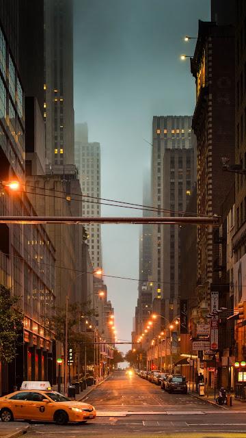 Street, New York, Cars, Lights