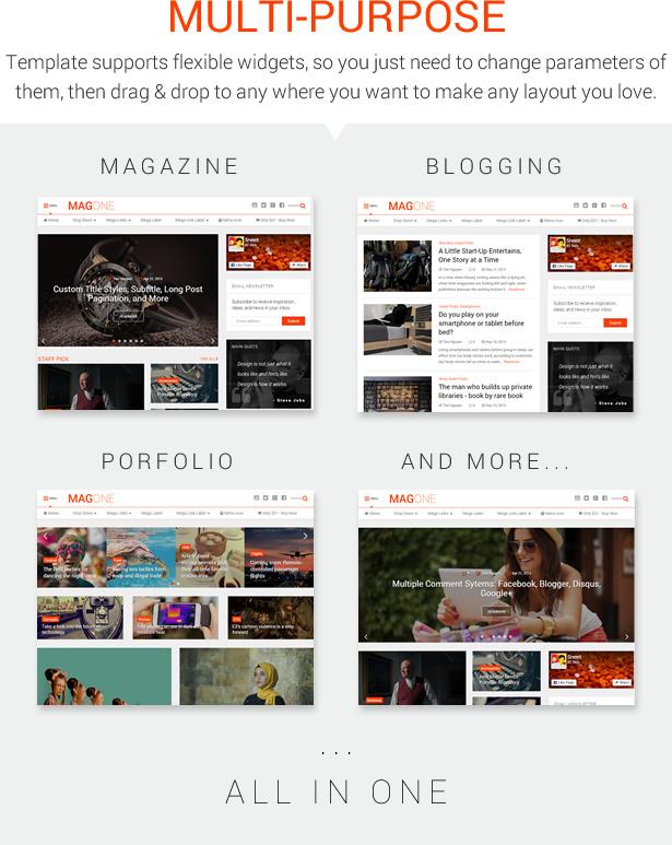 MagOne - Ultimate Blogger Magazine Template Multi-Purpose