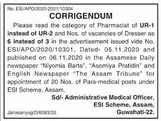 ESI Scheme Assam Recruitment Notice