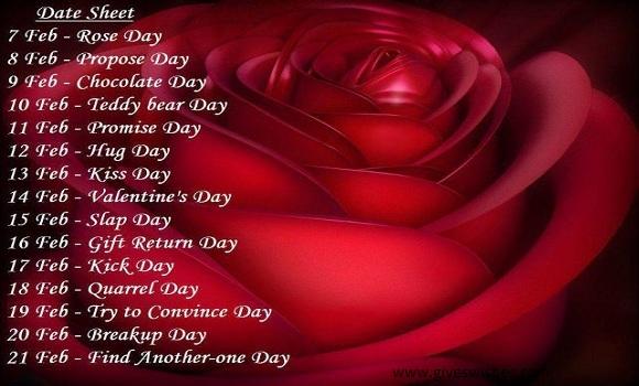 Valentine Week List 2018 - Day Dates Schedule Timetable Calendar