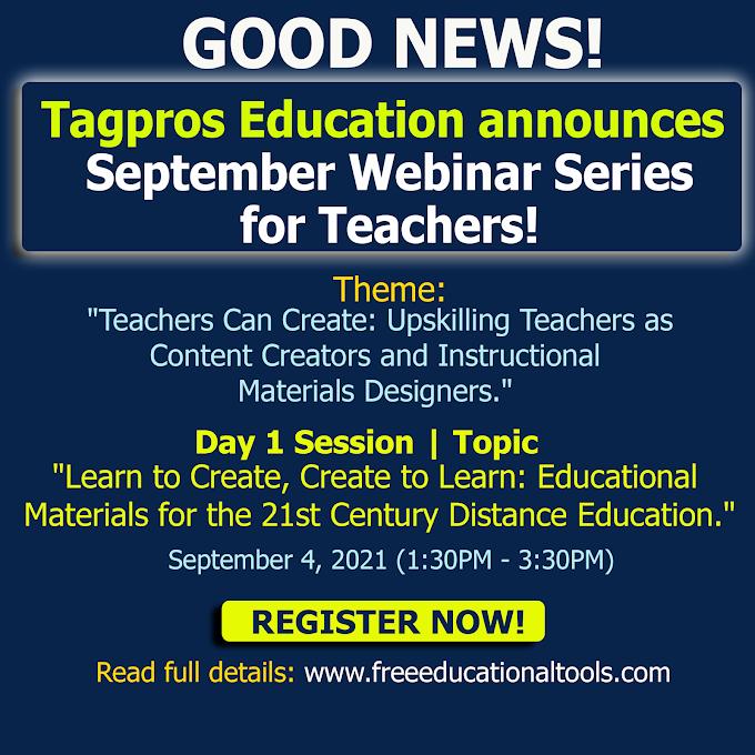 Tagpros Education   September Free Webinar Series for Teachers   Register Now!