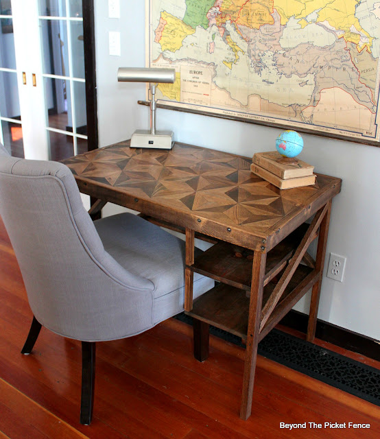 desk pieced together with reclaimed wood