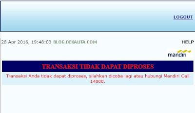Error Transaksi Ibanking Mandiri
