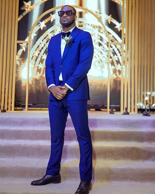 Check Out Cute Photo Of Peter Psquare Slaying In Blue Suit And Bow Tie
