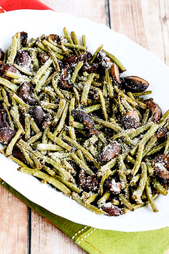 Roasted Green Beans with Mushrooms, Balsamic, and Parmesan featured in The BEST Low-Carb and Gluten-Free Thanksgiving Side Dishes on KalynsKitchen.com