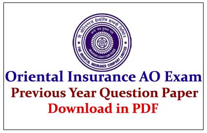 Oriental Insurance Company AO Exam 2015