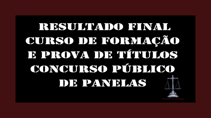 LISTA FINAL - CURSO DE FORMAÇÃO E PROVA DE TÍTULOS - CONCURSO PÚBLICO DE PANELAS