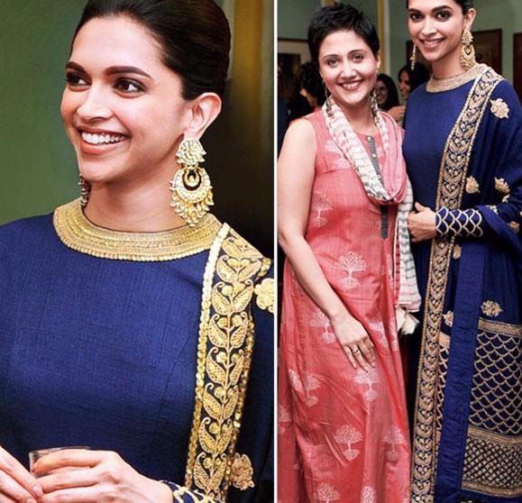 Deepika Padukone in Blue High Neck Anarkali Dress at Telegraph Dinner in Kolkata