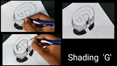 How to draw 'g' 3d Drawing, step by step tutorial of 'G' drawing, learn to'G' , drawing for begginers, sketching tips, how to shade G