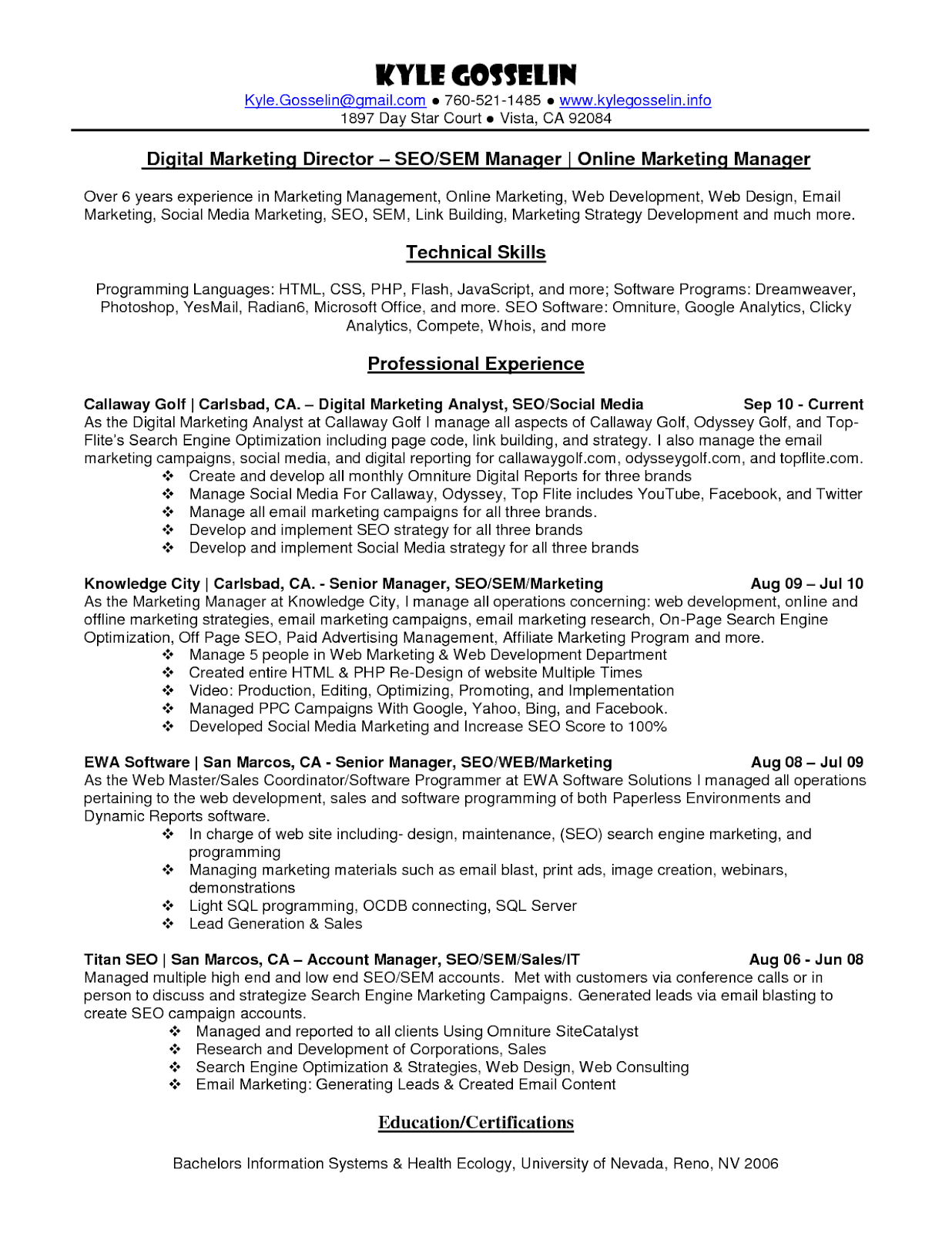Digital Marketing Manager Resume Template Best Resume Examples