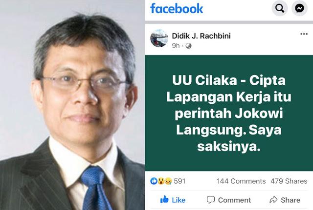 Prof. Didik J. Rachbini: UU Cilaka - Cipta Lapangan Kerja itu perintah Jokowi Langsung, Saya saksinya