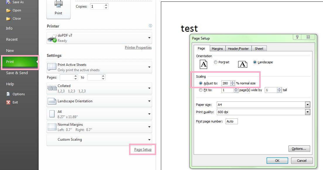 Excel VBA adjust printing setup