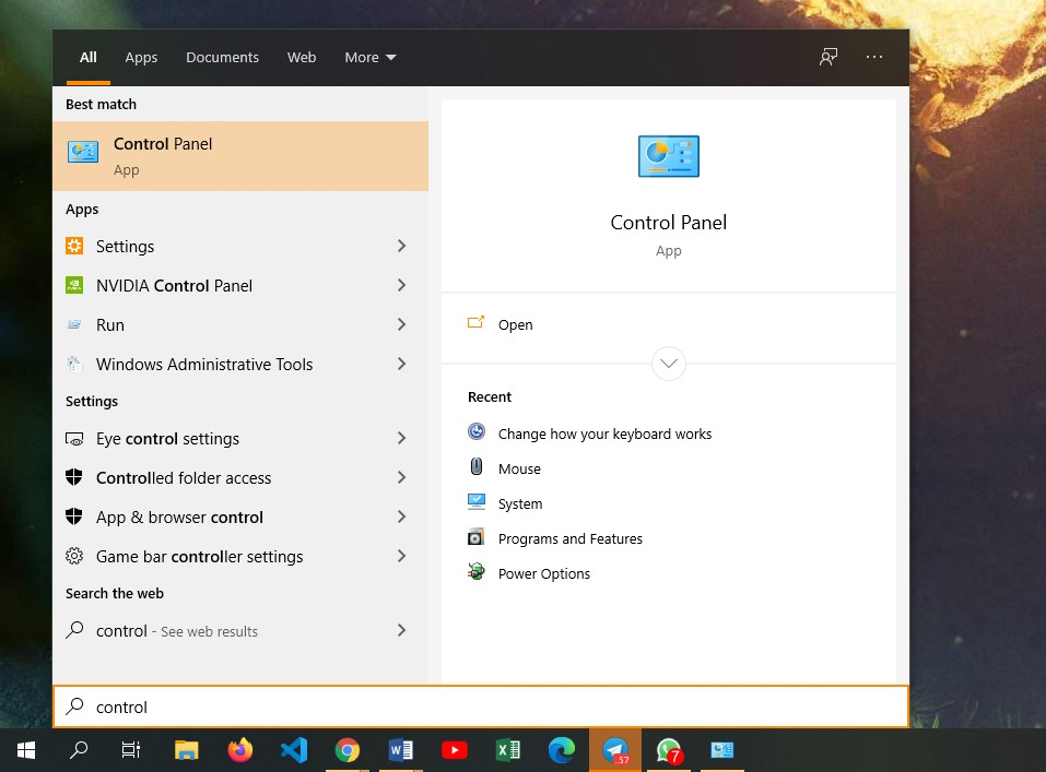 Membuka Control Panel pada Windows