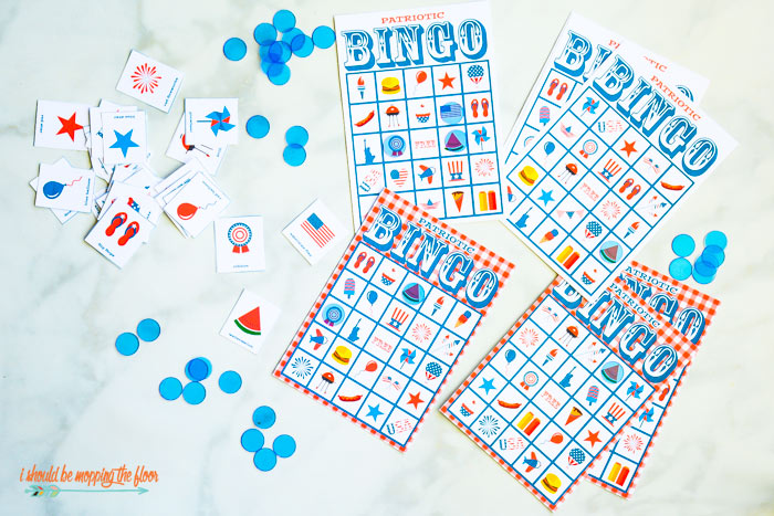 picture relating to Printable Bingo Chips named No cost 4th of July Bingo Printable Fixed i must be mopping