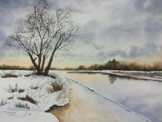 Snowland, painting by Poulami Basu - part of her portfolio of paintings on www.indiaart.com